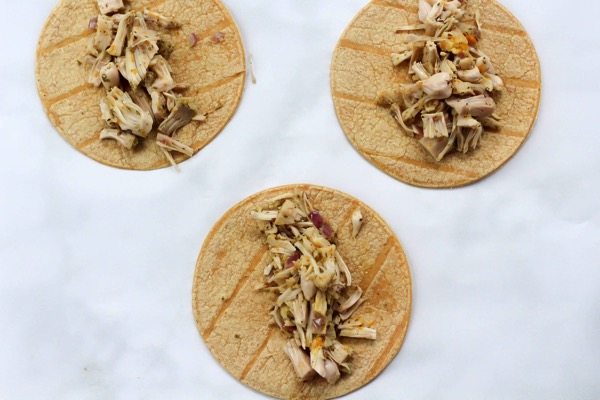 Shredded jackfruit carnitas tacos