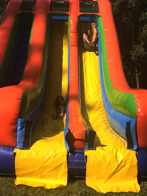 Pilot and Liv on the slides