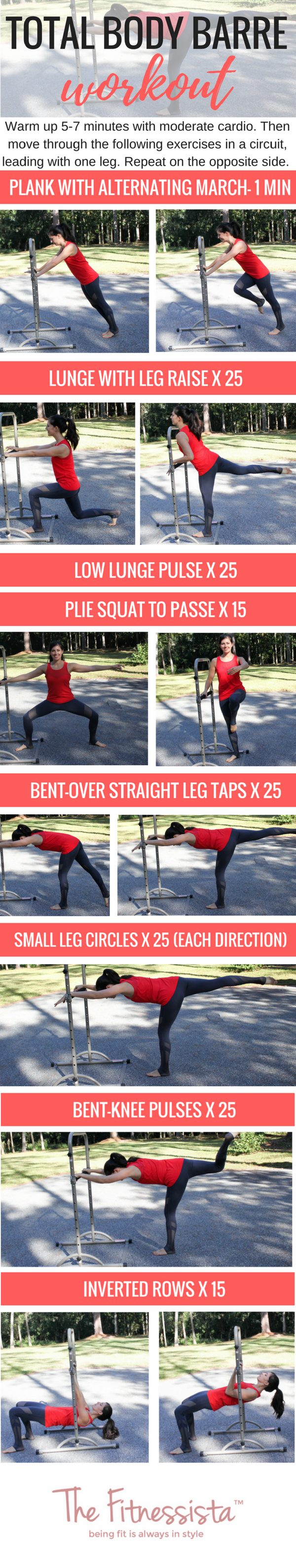 A total body barre workout you can do anywhere! fitnessista.com