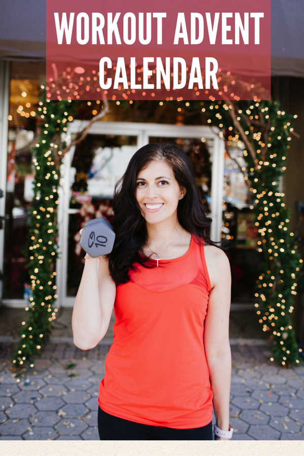 Workout advent calendar! A fun fitness challenge for the first 25 days in December. It's like a workout surprise each day! fitnessista.com #holidayworkout #Christmasworkout #adventcalendar