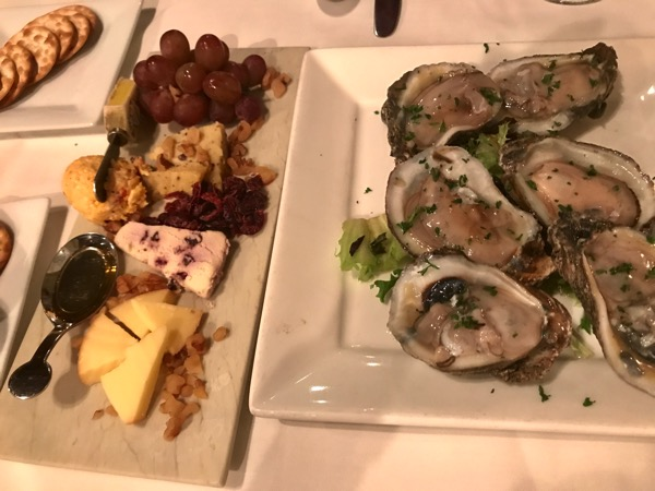 Oysters and cheese plate