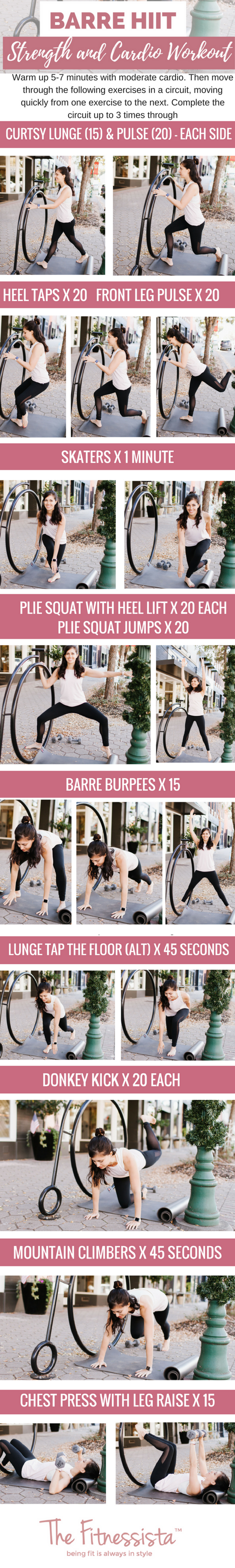 A Barre HIIT workout that combines sweaty cardio intervals with muscular endurance training. Get super lean muscles without needing to lift heavy weights! You can do this one anywhere. fitnessista.com