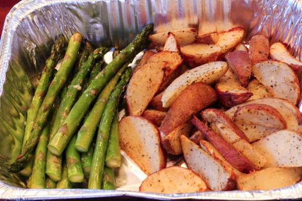 Potatoes and asparagus