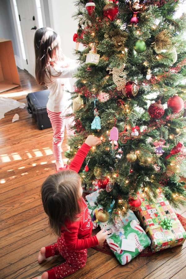 the girls decorating the tree