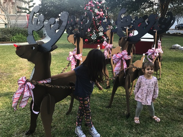 Girls with Rudolph
