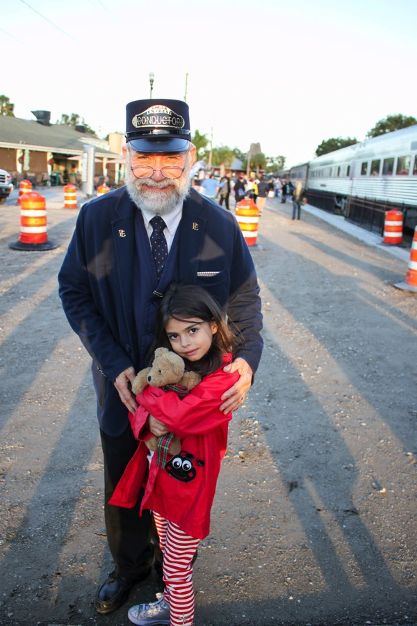 Liv with the Polar Express conductor