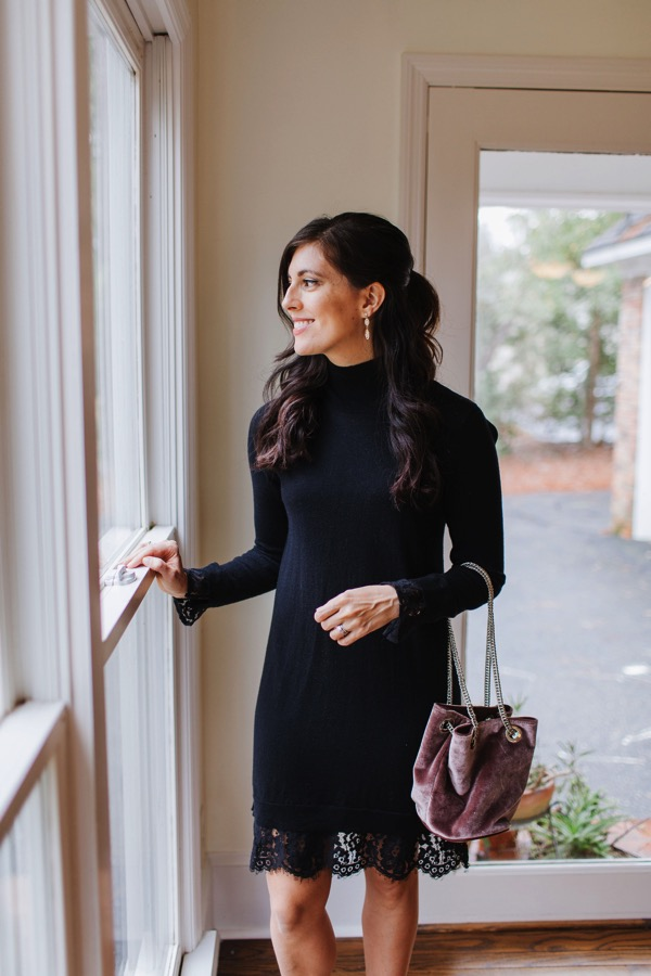 Stitch Fix Black Lace Mockneck Dress and Velvet handbag