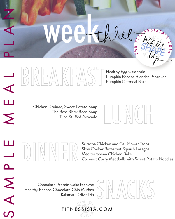 The Fitnessista's Winter Shape Up Sample Meal Plan | fitnessista.com | #wintershapeup #mealplan #healthymealideas
