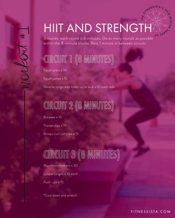 The Fitnessista's Winter Shape Up 2018 Workout #1: HIIT and Strength Workout | fitnessista.com | #WinterShapeUp #HIIT #StrengthWorkout #StrengthandCardio #HIITandStrength #circuitworkout