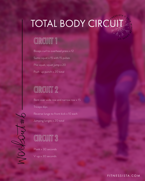 Winter Shape Up Total Body Workout - This super sweaty circuit workout will work your whole body. Click over to fitnessista.com for the entire FREE Winter Shape Up workout plan! #freeworkoutplan #wintershapeup #workoutplan #totalbodyworkout #circuitworkout