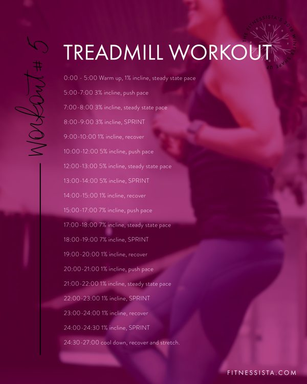 Winter Shape Up Treadmill Workout - You'll feel the burn with this sweaty and intense treadmill workout! fitnessista.com | #treadmillworkout #cardio #wintershapeup