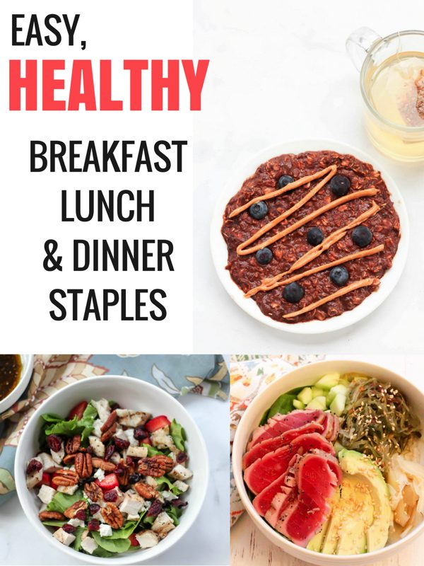 Easy and healthy breakfast, lunch and dinner ideas! Perfect for weekly meal prep. fitnessista.com #healthybreakfast #healthylunch #healthydinner #easyhealthymeals