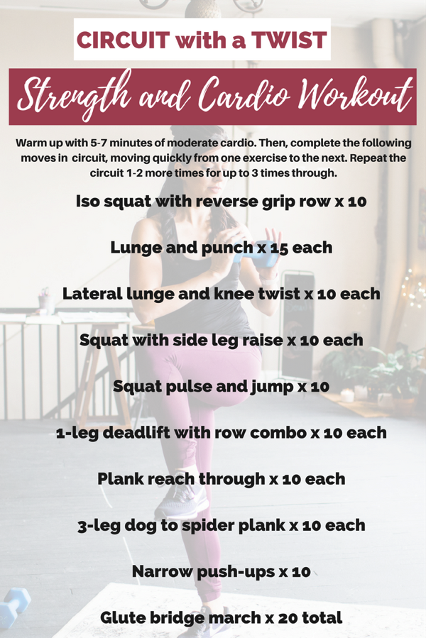 Workout with a twist! Change up your routine in the new year. This workout takes exercises you already know and adds a different challenge element! fitnessista.com #circiutworkout #strengthworkout #strengthandcardioworkout