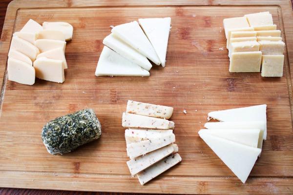 Cheese board on cutting board