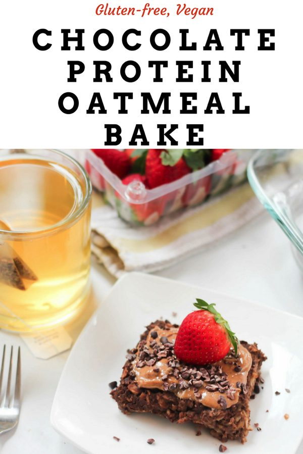 Protein baked chocolate oatmeal! This is the perfect healthy breakfast recipe for busy mornings. Just make in advance, grab, and eat! fitnessista.com #bakedoatmeal #proteinoatmeal #soakedoats #chocolate oatmeal