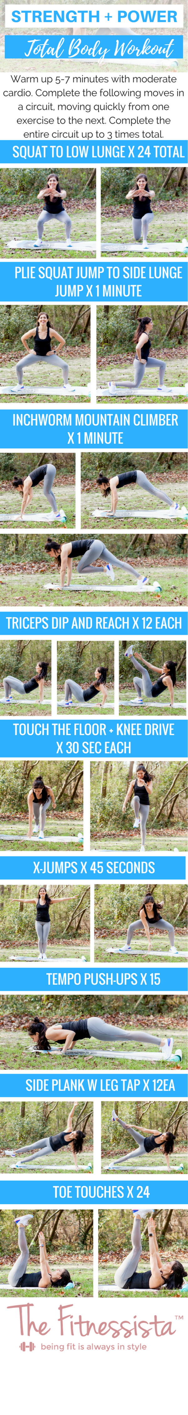 A total body strength and power workout you can do anywhere. Mix up HIIT training with strength for awesome results. fitnessista.com #strengthworkout #circuitworkout