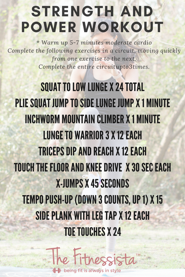 This strength and power workout is a super sweaty combo, and perfect way to kick up your training to the next level. fitnessista.com #strengthworkout #circuitworkout