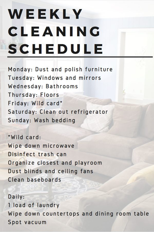 Weekly cleaning schedule to keep the house clean! Just 30 minutes or so a day. fitnessista.com | #cleaningschedule