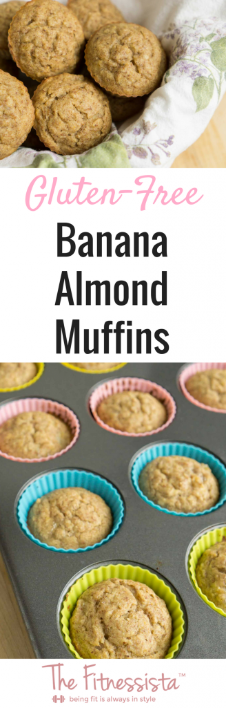 Gluten-free banana almond muffins are packed with healthy fat and protein, and contain no refined sugar. They're a delicious, healthier muffin option, and perfect for breakfast or snack. fitnessista.com | #glutenfreerecipes #glutenfreemuffins #glutenfreerecipe #muffinrecipe #healthiermuffinrecipe