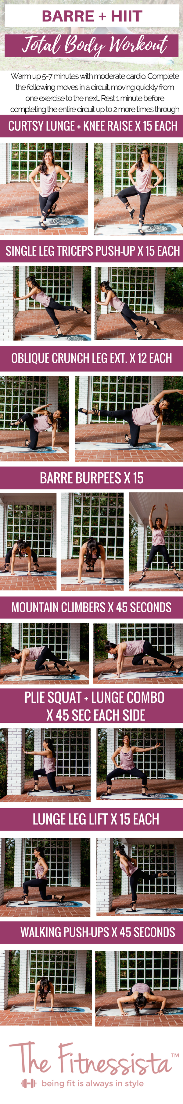 Total body barre circuit workout you can do anywhere. Check out the details: fitnessista.com | #barre #barreworkout #totalbodybarre #totalbodyworkout #hiitworkout #barrehiitworkout