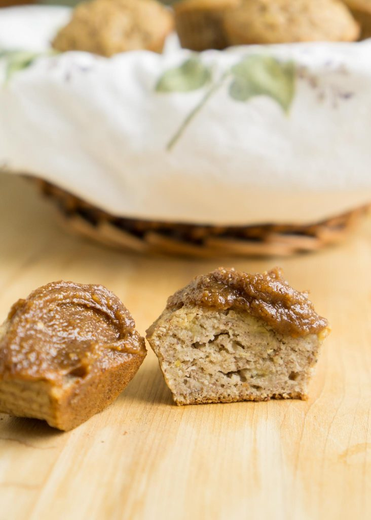 gluten-free banana almond muffin topped with protein fluff