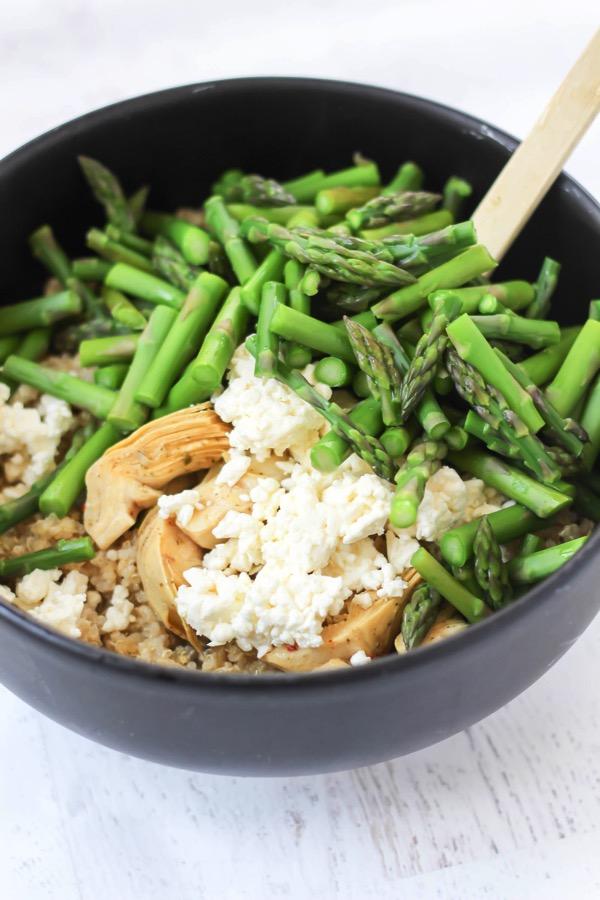 Spring artichoke asparagus quinoa salad