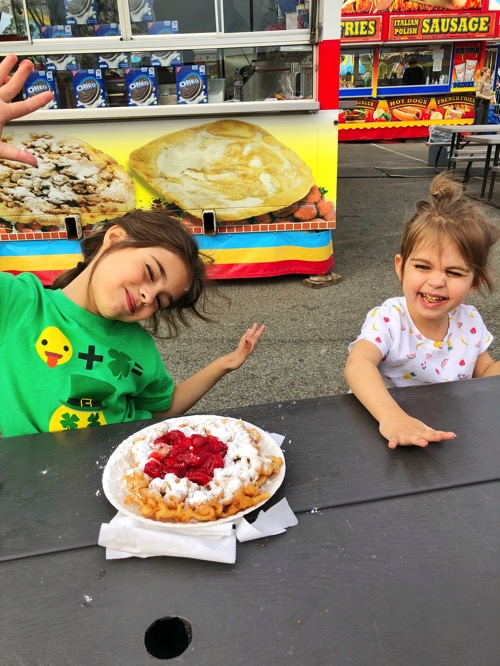 The girls with funnel cake