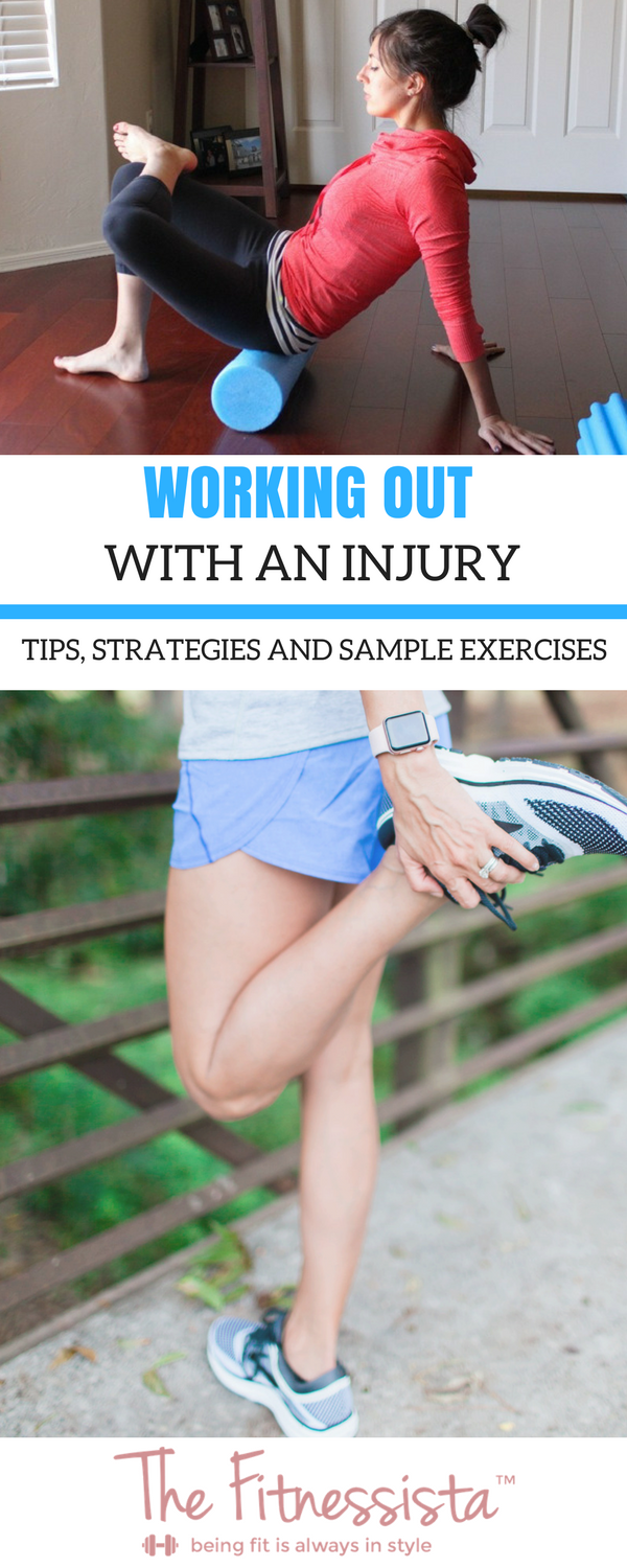 Tips for working out with an injury: Can I work out with an injury? What exercises are good for a knee injury? What exercises are good after shoulder surgery? How can I keep working out even though an injury has me sidelined? | fitnessista.com