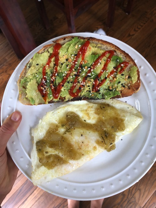 avocado Sourdough toast and eggs