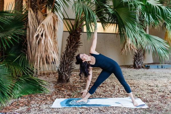yoga triangle pose outside