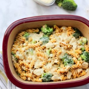 This cheesy broccoli chicken casserole is gluten-free, dairy-free, and high in protein! It's a perfect family and kid-friendly dinner for a busy weeknight. You can make it in advance, heat, and eat. fitnessista.com