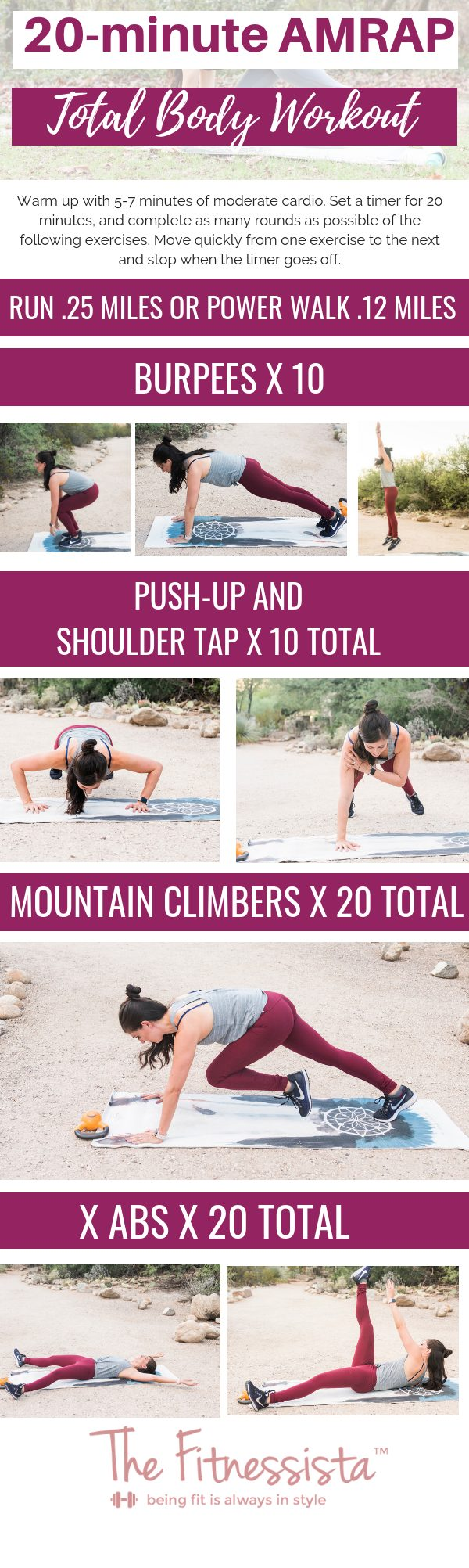 20 minute AMRAP workout you can do anywhere with your own bodyweight. All the details and form cues: fitnessista.com