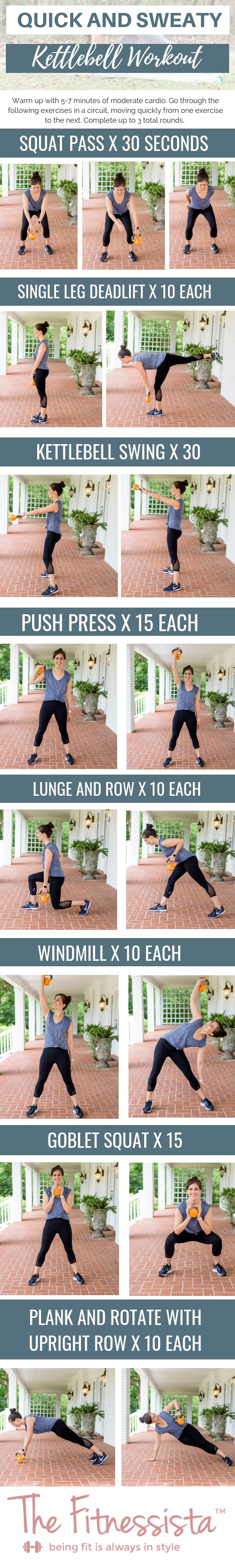 Quick and sweaty 1 kettlebell workout you can do anywhere. All the details at fitnessista.com