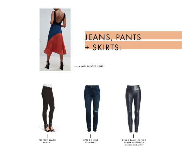 Jeans pants and skirts