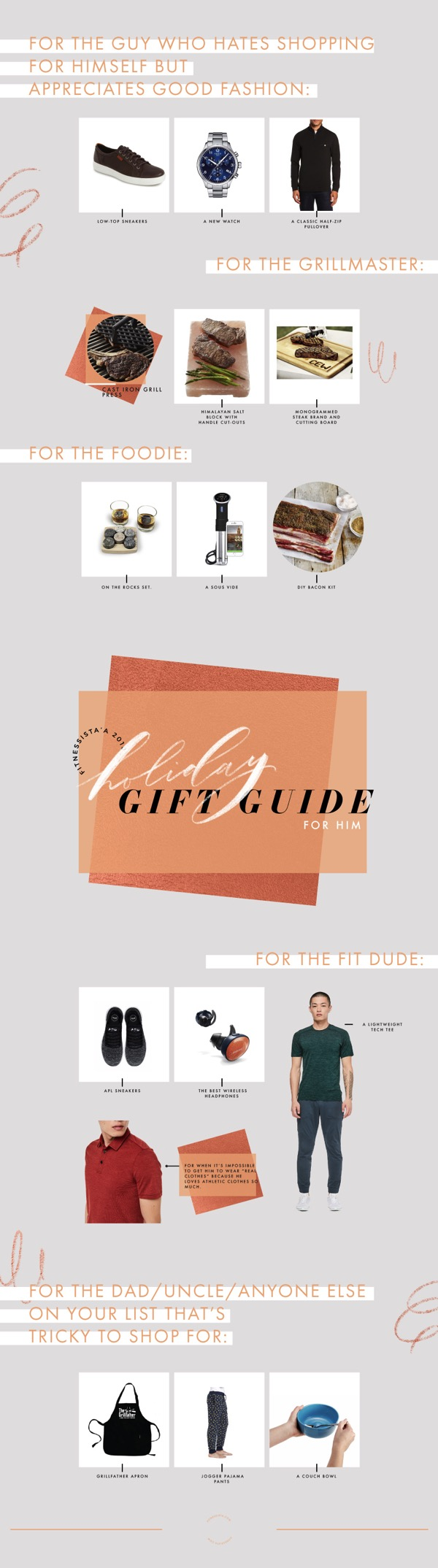 Holiday Gift Guide 2018 For Him. This is a gift guide for the husband, boyfriend, brother, best friend, Uncle, or Dad on your list. It can be so hard to shop for men, and there are lots of holiday gift ideas in this post! fitnessista.com