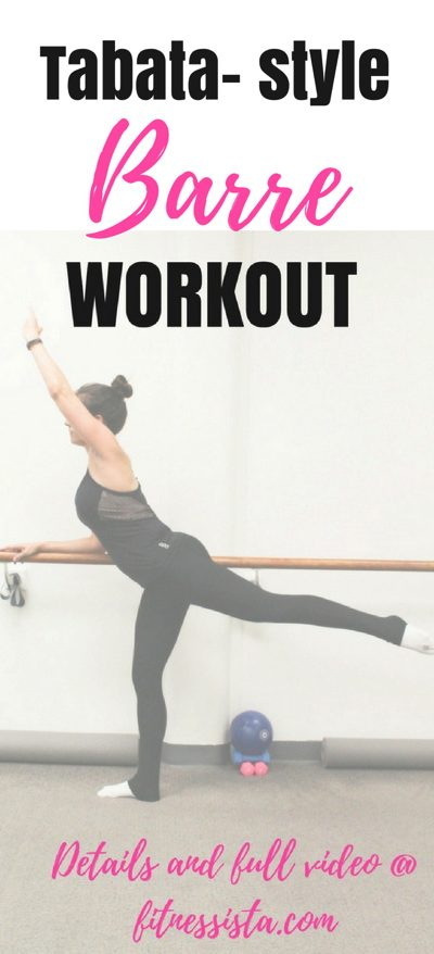Tabata style barre workout with video