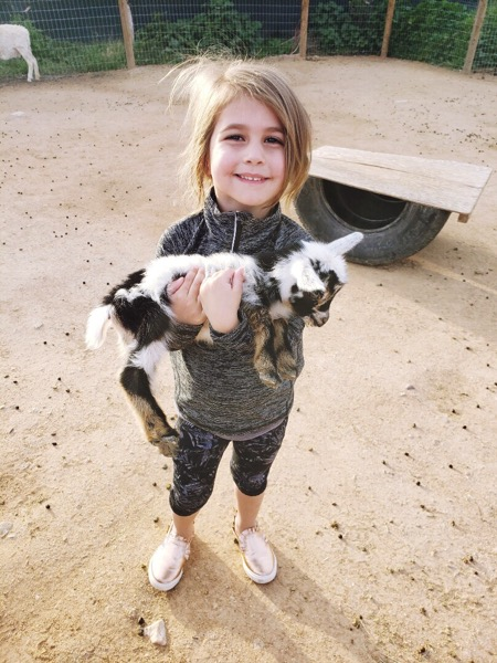 P holding the baby goat