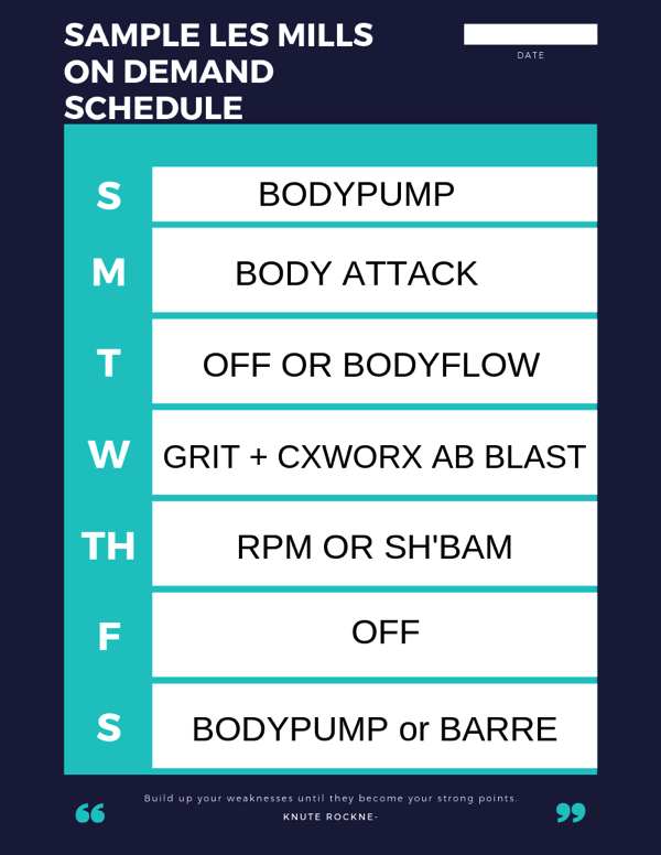 Sample les mills on demand schedule