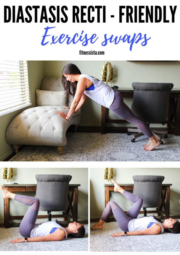 Diastasis recti friendly exercise swaps! These are perfect for group fitness classes when you want safe modifications for DR. fitnessista.com