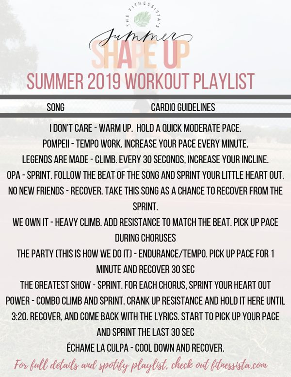 SUMMER 2019 WORKOUT PlAYLIST