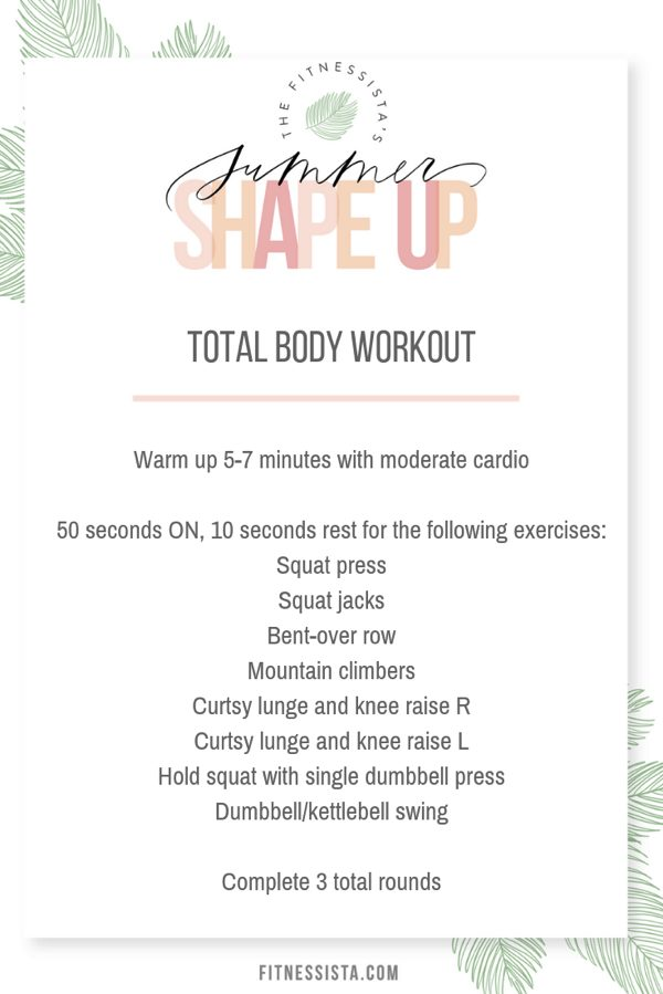 This is a total body circuit workout you can do at home (or anywhere!) with only a pair of dumbbells. Get the full video on fitnessista.com ,along with a free 4 week summer shape up fitness and nutrition plan.