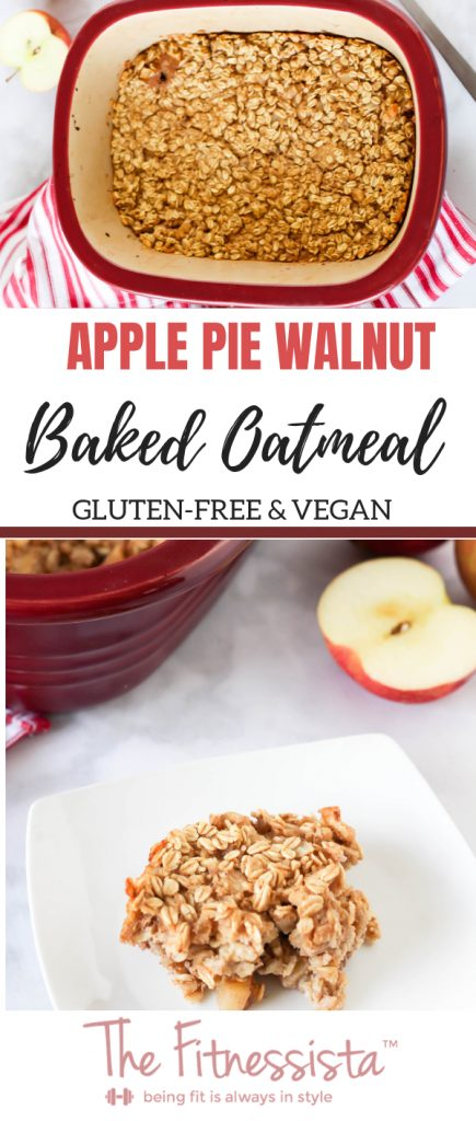 This apple pie baked oatmeal is gluten-free, vegan, and an incredibly delicious make-ahead breakfast option. This is perfect to make as part of meal prep for busy weekday mornings. Simply reheat and eat. :) fitnessista.com