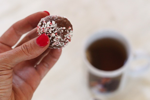 Chocolate peppermint protein bites5