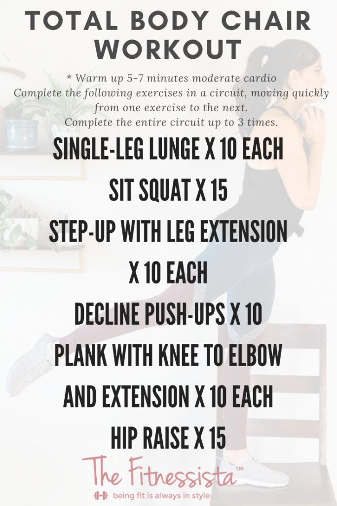 Work your entire body using a chair and a pair of dumbbells at home! fitnessista.com