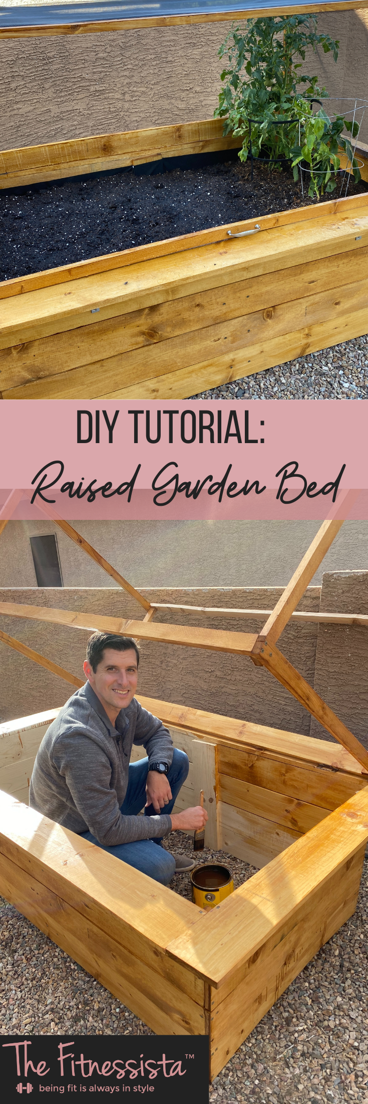 DIY raised garden bed!  Grow your own vegetables and herbs at home.  fitnessista.com