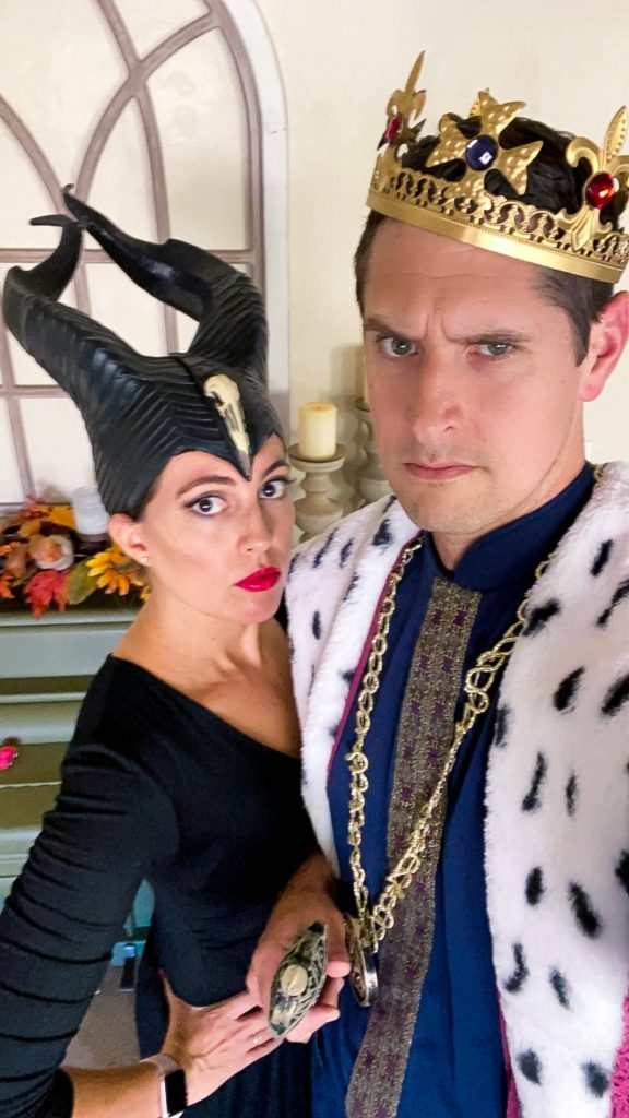 Maleficent and king costume for Halloween. Couples costume ideas