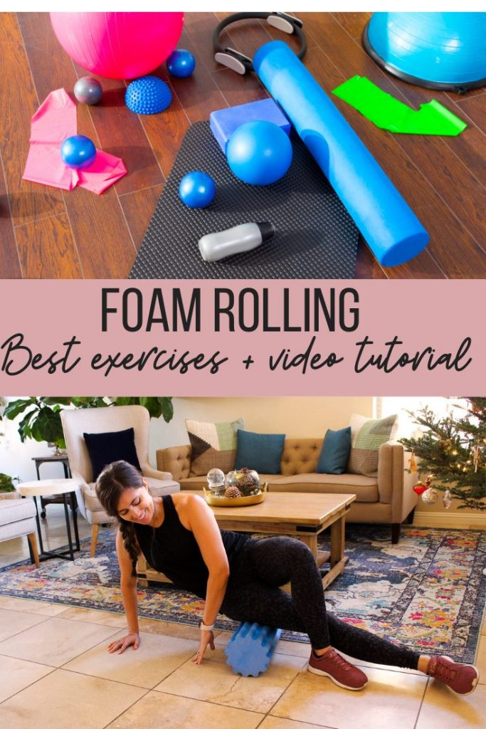 girl going IT band stretch on foam roller