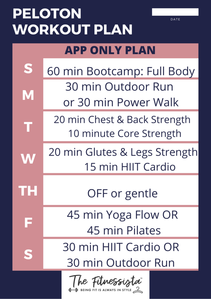 Sample Peloton workout plan