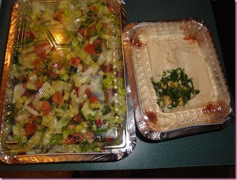 salad and hummus