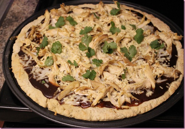 BBQ chicken pizza with Annie's BBQ sauce, organic rotisserie chicken ...